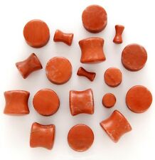 """1 Pair 1/2"""" 12mm Organic Plumb Agate Stone Saddle Plugs Solid Gauges DBL Flared"""