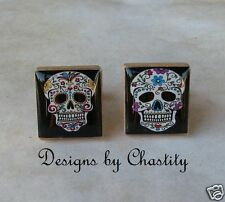 Sugar Skull Day of the Dead - dia de los muertos - Scrabble Cuff Links
