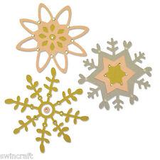 Sizzix Thinlits Die Taglio Stencil sbalzo 3PZ delicato caduta 660879 fiocchi di neve
