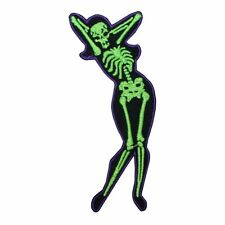 Sexy Arms Up Pose Skeleton Girl Chick Lady Kreepsville Embroidered Iron On Patch