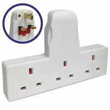 3 WAY / 3 GANG FUSED PLUG MULTI SOCKET EXTENSION ADAPTOR ADAPTER NT