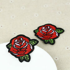 2pcs Red Rose Flower Applique Embroidery Iron/Sew On Patch Badge mx