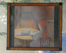 fine old pastel painting girl reading book by goldfish bowl