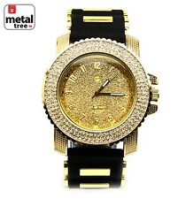 Hip Hop Iced Out Gold Plated Black Silicone Band Techno Pave Watches/8105 GD