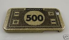 "for Iphone 5 phone case Monopoly ""500 money "" gold glitter"