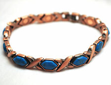 LADIES 7.75 INCH MAGNETIC THERAPY LINK BRACELET: Copper Hugs 'N Turquoise Kisses