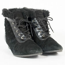 WOMENS VINTAGE FAUX SUEDE ANKLE BOOTS FAUX FUR LEATHER WINTER CUTE  UK 6 EU 39