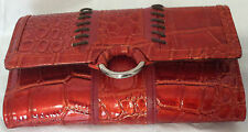 Rolfs Ladies Red Clutch Wallet Checkbook Organizer Pen Holder Faux Leather
