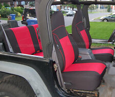 Custom Neoprene Seat Cover Full Set Rubicon Sahara Red TJ 97-02 Jeep Wrangler