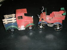 PAIR OF 2 VINTAGE TIN TRUCK AND CAR