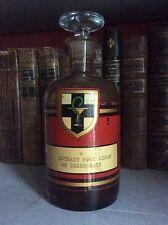Flacon de Pharmacie Ancien Étiquette Caducée Sirop de Desessartz TBE Haut 18 cm