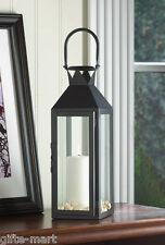 """Large 15"""" tall BLACK Candle holder Lantern Lamp terrace outdoor garden patio"""