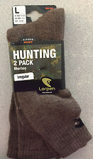 LOT of 2 PAIRS Lorpen Merino Wool Blend Brown Hunting Socks LARGE 10-12.5 43-46