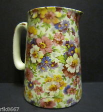 Heron Cross Pottery Summer Meadow (pink B/G) Chintz English 1/2 Pint Milk Jug