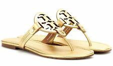 SIZE 9 NIB Tory Burch Gold Miller Metallic Leather Flat Sandals Flip Flops