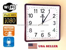 1080P HD WiFi IP Hidden Wall Clock Spy Camera DVR Motion Detection Audio