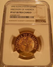 El Salvador 1992 Gold 2500 Colones NGC PF-67UC Discovery of America