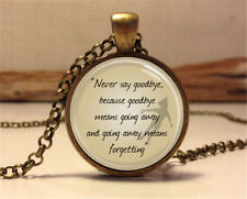 Vintage Quote Cabochon Bronze Glass Chain Pendant Necklace yy14