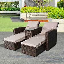 Outsunny Rattan Lounge Set 3 Pcs Sofa Wicker Chaise Chair Loveseat Patio Outdoor