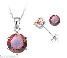 Round Ruby Red Gem Ear Studs Silver Stud Earrings Necklace Jewellery Set Gift