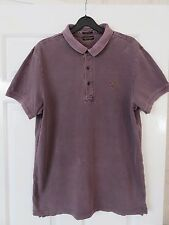 AllSaints Men's Polo Top - Small Medium - Washed Purple