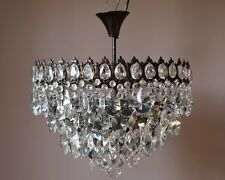 1950's Lamp Flush Ceiling Antique Vintage Crystal Chandelier Lamp Old Lighting