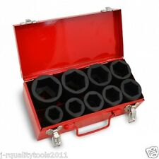 "10 PC 1"" ONE INCH DRIVE DR DEEP BIG SIZE AIR BLACK IMPACT SOCKET WRENCH TOOL SET"