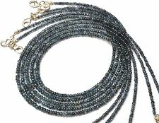 """Natural Gem Burma Blue Sapphire Smooth 3-4MM Rondelle Beads Necklace 54Cts. 18"""""""