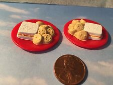 BARBIE DOLL HOUSE DIORAMA FOOD ACCESSORY LOT OF 2 SANDWICH PLATES