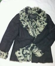 Suede fax fur black jacket coat 14 on trend ladies