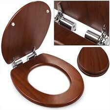 Loo Seat Wooden LUXURY Brown Toilet WC Slow Quiet Soft Close Lid Cover Bathroom