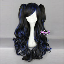 Women's Fashion Black Mixed Blue 24'' Long Curly Cosplay Wig With Ponytails