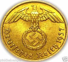 Germany - German Third Reich 1937A Gold Colored 5 Reichspfennig Coin Rare WW 2