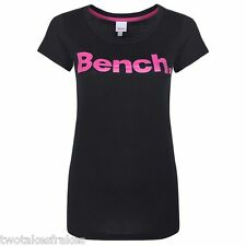 BENCH WOMENS ZEK CORE LOGO PRINT TEE T-SHIRT TOP In Black Pink Bnwt New UK 8 XS