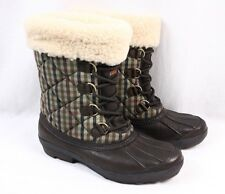UGG Newberry Winter Shearling Brown Green Plaid Snow Mid Waterproof Boot Women 8
