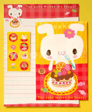 "Japanese Letter Set: ""The Cake Makes Me Happy"" Kawaii Birthday Bunny"