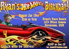 HOT WHEELS Personalized PHOTO Birthday Invitations - 4x6 OR 5x7