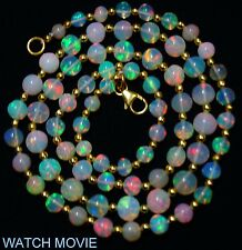"55CTS. 19"" 3-6 MM ETHIOPIAN OPAL ROUND BALLS & GOLD PLATED SILVER BEADS NECKLACE"