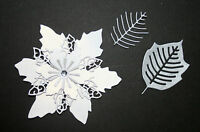 TATTERED LACE HANDMADE CHRISTMAS WHITE/SILVER EXTRA LARGE  POINSETTIA DIE CUTS