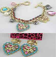 Betsey Johnson Fashion Jewelry Blue Heart Flowers Bracelets Earrings