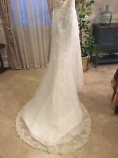 DAVIDS BRIDAL Michaelangelo SIGNATURE WEDDING GOWN T8021 size 8 strapless Beaded