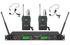 GTD Audio 2x800 Ch UHF Wireless Lavaliere Lapel Headset Microphone System 733L