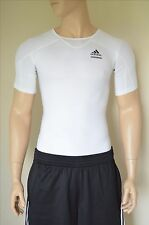 NEW Adidas TechFit Short Sleeve SS Base Layer Compression Shirt White Tee M