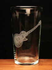 Gibson Les Paul Electric Guitar musical instrument engraved pint glass gift