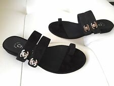 2017 CHANEL BLACK SUEDE LEATHER TOE-RING FLAT SANDALS WITH SILVER CC LOCK 35.5