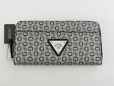NWT Women's GUESS Gray/Black Burbank Slg Zip Around Wallet X6381599