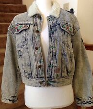 Vintage VTG 80,90's Retro Acid Wash Denim Jean Jacket Firebird Patchwork Sz M