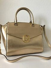 Michael Kors Pale Gold Metallic Leather Hudson Large Satchel 35H4MHUS3M NWT