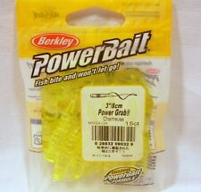 "Berkley Powerbait 3"" Chartreuse Power Grubs Soft Plastic Package Fishing Bait"