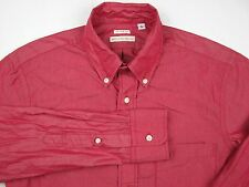 Unionmade x New England Shirt Company Metallic Red Slim Button Up Shirt LA Small